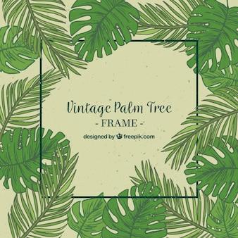 Vintage Hintergrund der Palme Blatt Hand gezeichnet