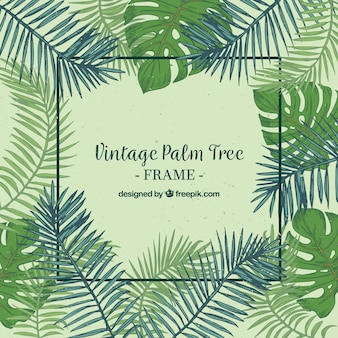 Vintage Hintergrund mit Rahmen und Hand gezeichnet Palmblatt