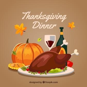 Vintage Hintergrund mit Thanksgiving-Abendessen
