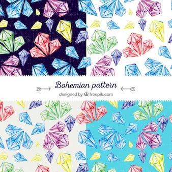 Vintage Muster mit farbigen Edelsteinen