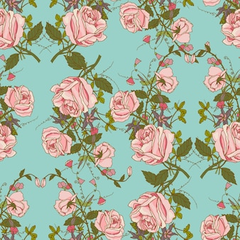 Vintage nostalgische schöne Rosen Bündel Zusammensetzung romantische Blumen Hochzeit Geschenk Verpackung Papier nahtlose Muster Farbe Vektor-Illustration