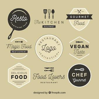 Vintage Restaurant Logos mit Abzeichen Design