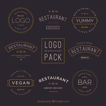 Vintage Restaurant Logos mit alten Stil