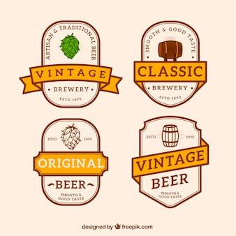 Vintage Sammlung von Bier Etiketten mit orange Bänder