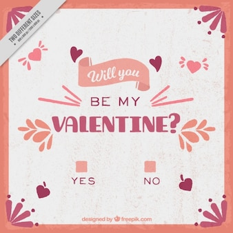 Vintage Valentine-Hintergrund mit Frage