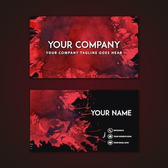 Visitenkarte mit rotem abstrakten Design