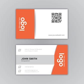 Visitenkarte orange und weißes desig