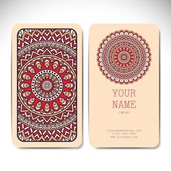 Visitenkarte Sammlung im ethnischen Stil Hand zeichnen