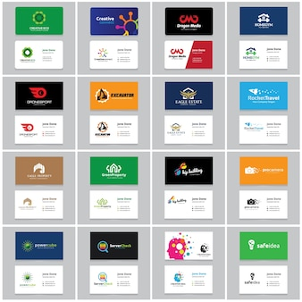 Visitenkarte und Markenidentitätsvorlage. Logo-Sammelset.