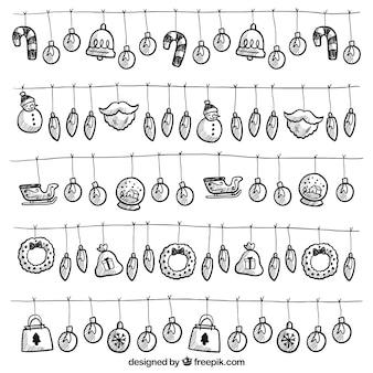 Von Hand gezeichnet Satz von Saiten mit Lichtern und Weihnachtselementen