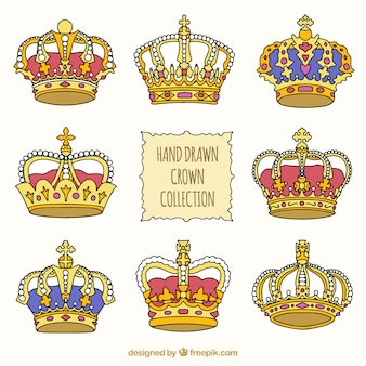 Von Hand gezeichnet Set von Luxus-Kronen