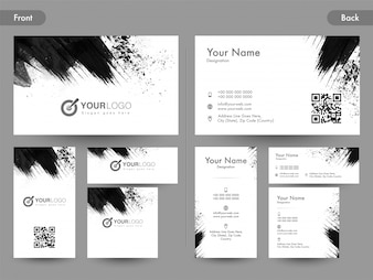 Vorder- und Rückseitenansicht der horizontalen und vertikalen Visitenkarte, Namenskarte oder Besuchskarte mit schwarzen abstrakten Pinselstrichen.