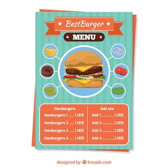 Vorlage von Burger-Menü mit leckeren Zutaten
