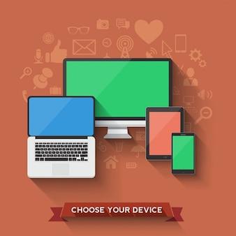 Wählen Sie Ihre Lieblings-Gerät Symbol Vector Illustration