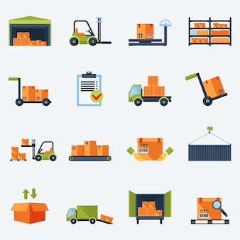 Warehouse Transport und Lieferung Icons Flat Set isoliert Vektor-Illustration