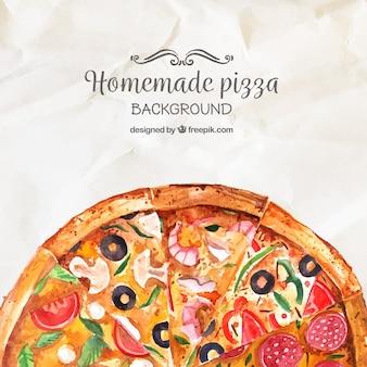 Wasserfarbe hausgemachte Pizza Hintergrund