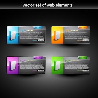 Web-Elemente mit Produkt zum Verkauf