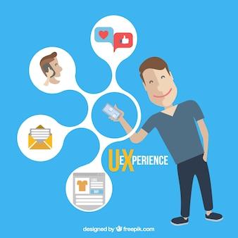 Web-Icons und Junge mit einem Handy