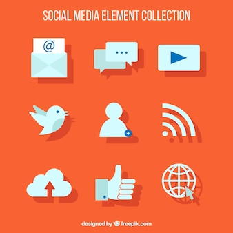Web-Ikonen auf einem orangefarbenen Hintergrund