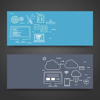 Website-Header oder Banner Design mit Infografik Design.