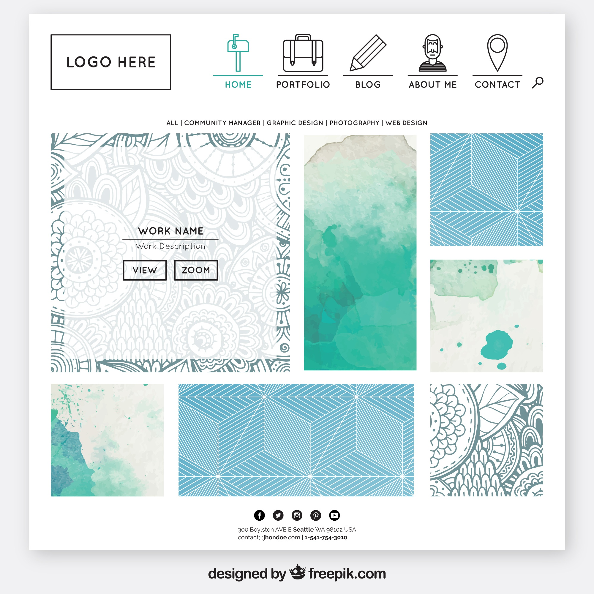 Website template in Aquarellentwurf