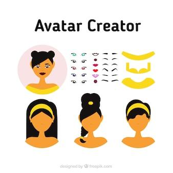 Weiblich Avatar Creator Set
