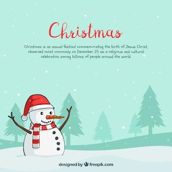 Weihnachten Hintergrund mit glücklichen Schneemann