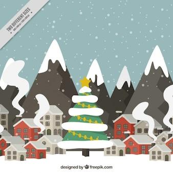 Weihnachten Landschaft mit schneebedeckten Bergen im flachen Design