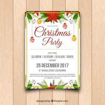 Weihnachts-Party-Poster mit Kugeln und Osterblumen