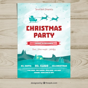 Weihnachtsfeier Plakat mit Weihnachtsmann und Landschaft