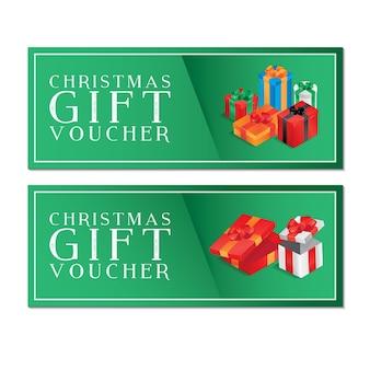 Weihnachtsgeschenkgutschein mit grünem Hintergrund mit bunten Boxen