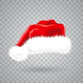 Weihnachtsillustration mit rotem Sankt-Hut auf transparentem Hintergrund. Isoliertes Vektorobjekt.