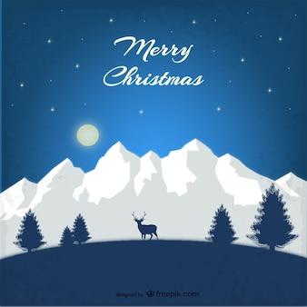 Weihnachtskarte mit Bergen