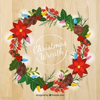 Weihnachtskranz mit natürlichen Elementen