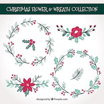 Weihnachtspackung mit Blumenkränzen