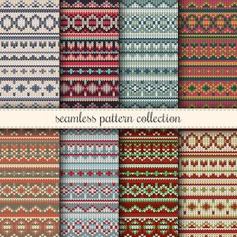 Weihnachtspullover nahtlose Muster Sammlung. Gestrickter Pullover wiederholbarer Hintergrund. Weihnachten nähen / stricken Tapete, Hintergrund.