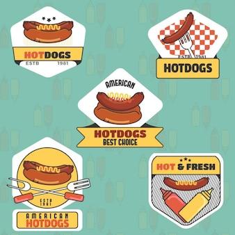 Weinlese-Hot-Dog-Logo-Sammlung
