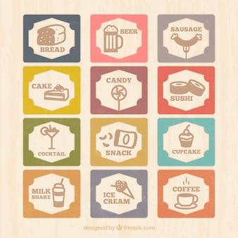 Weinlese-Menü-Karte mit Lebensmittel-Symbole