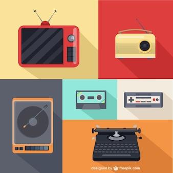 Weinlese-Multimedia Icons Set