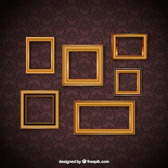 Weinlese-Rahmen-Set und dekorative Tapeten