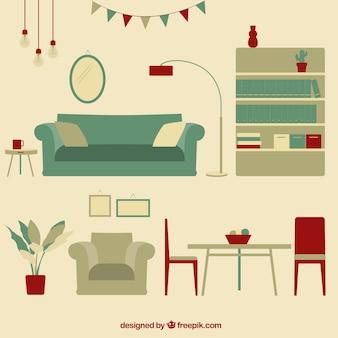 Weinlese-Wohnzimmer Möbel
