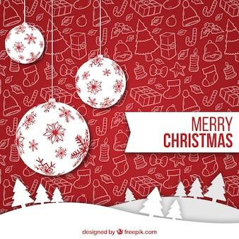 Weiß Weihnachtskugeln auf einem roten Hintergrund