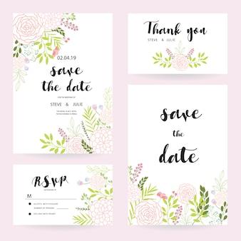 Weiße Hochzeitskarten mit Blumenansammlung
