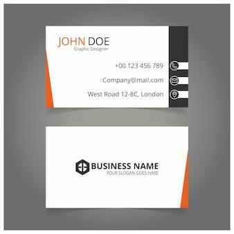 Weiße orange und schwarze Visitenkarte