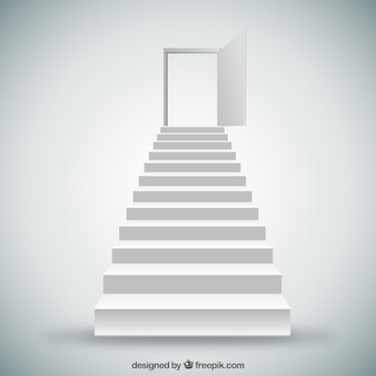 Weiße Treppen und Tür