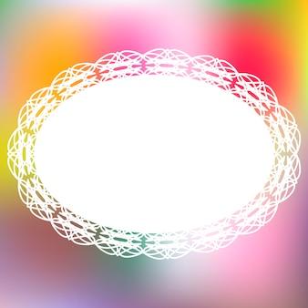 Weißer Rahmen mit Ornament auf unscharfen bunten Hintergrund
