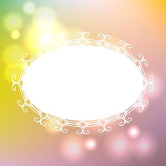 Weißer Rahmen mit Ornament auf unscharfen Hintergrund