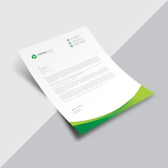 Weißes Geschäftsdokument mit grünen wellenförmigen Details