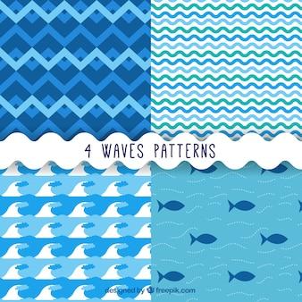 Wellen und Fische Muster