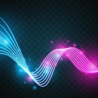 Wellenförmige Formen mit Neonlicht Design